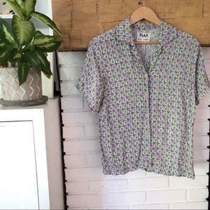 Flax Button Down Geometric Print Short Sleeve Top
